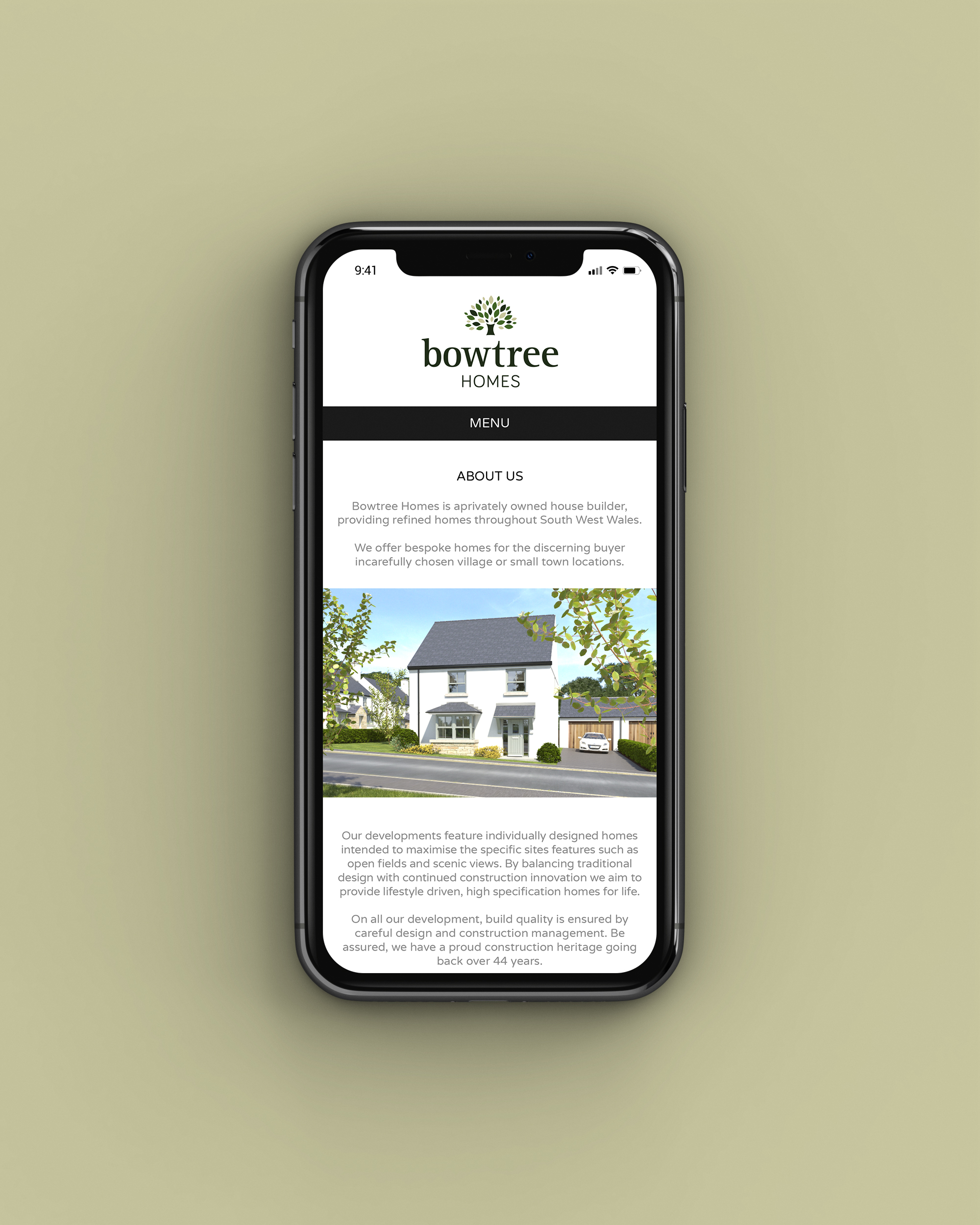 Mobile website design for Bowtree Homes