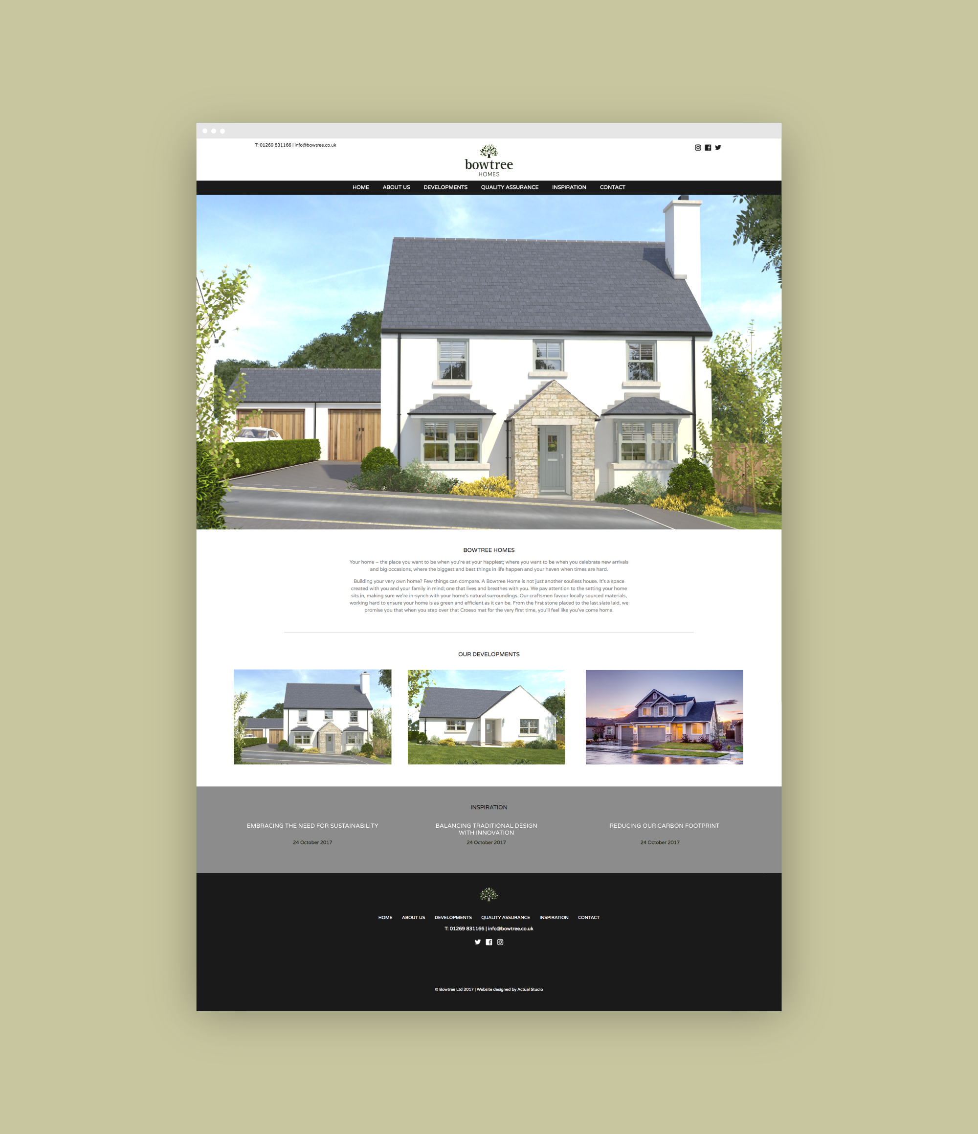 Website design for Bowtree Homes