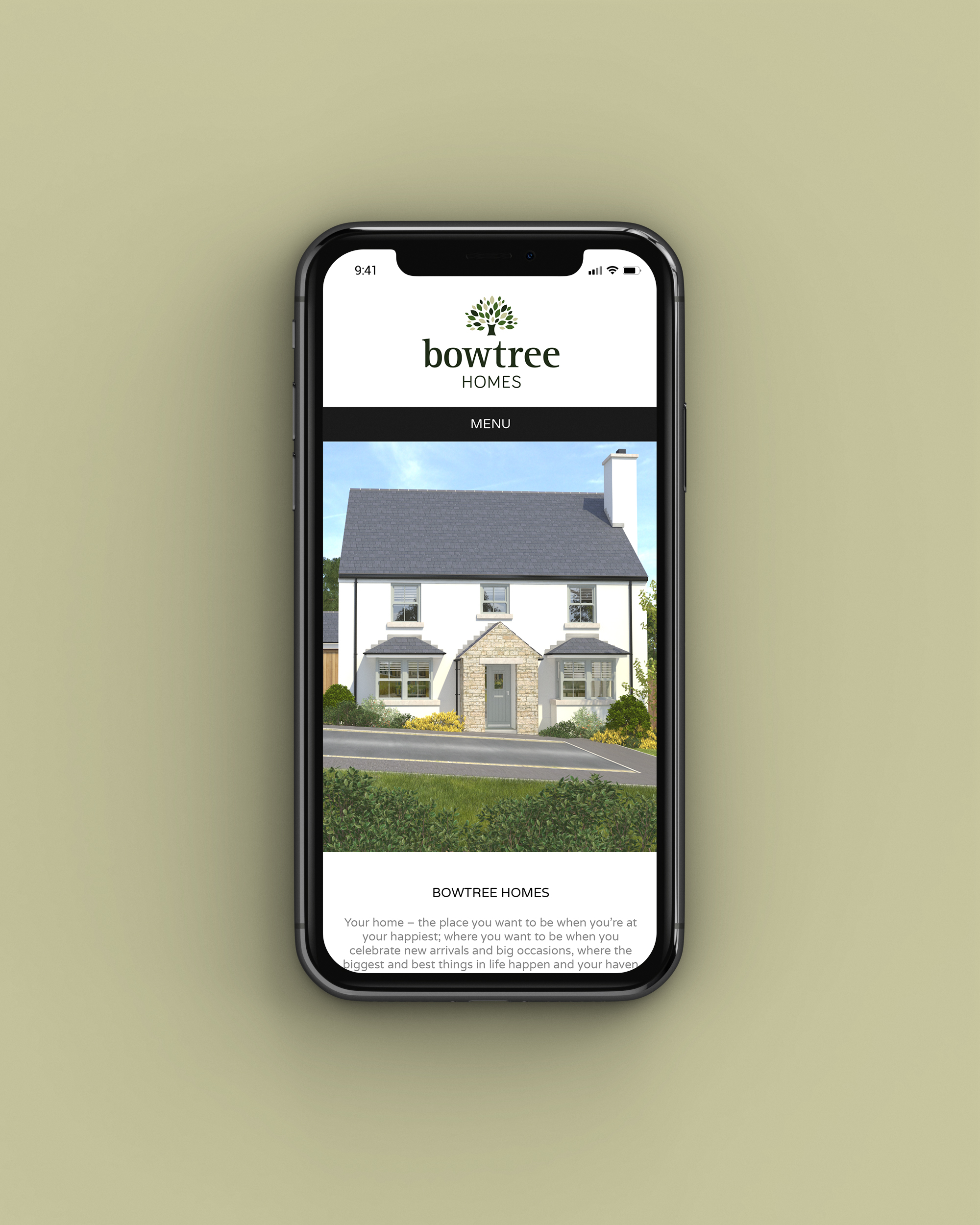 Mobile web design for Bowtree Homes