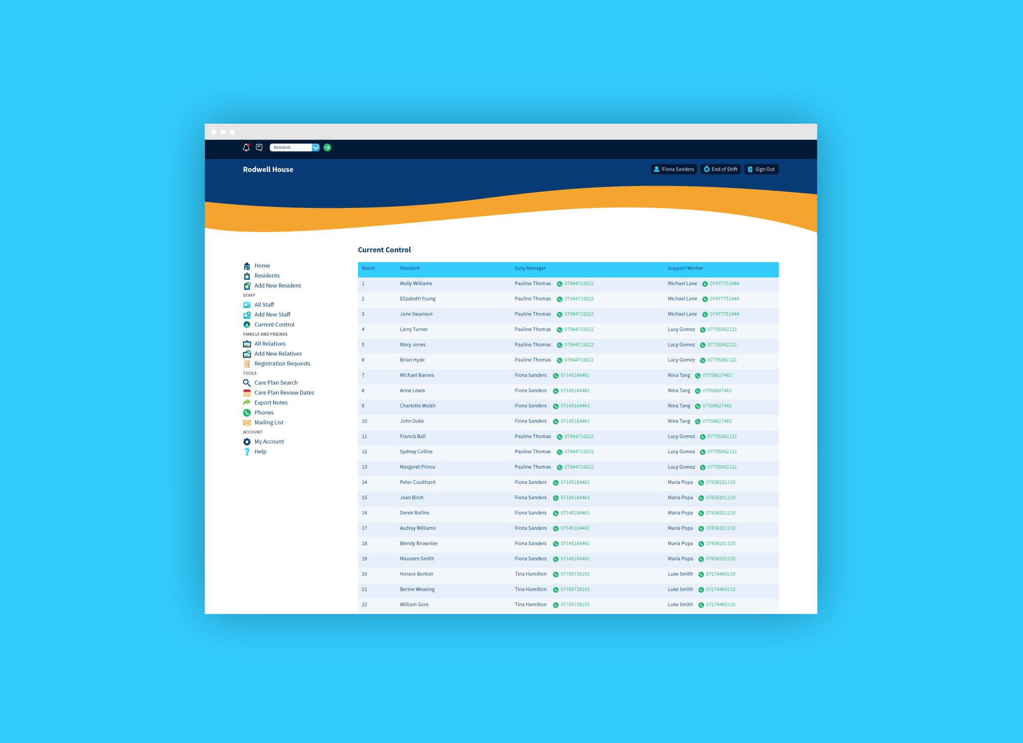Care home management system web app for Graham Care