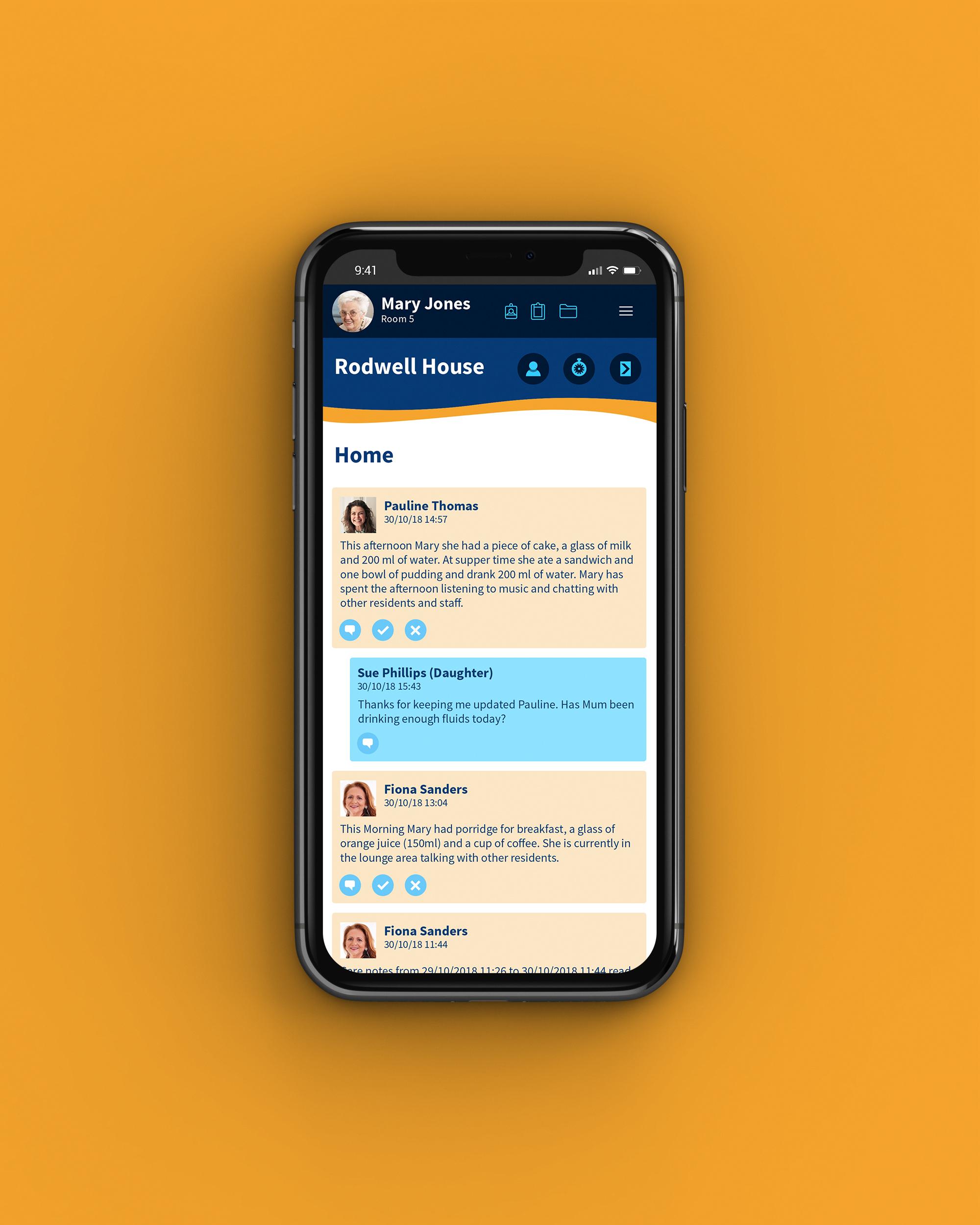 Care home management system mobile web app for Graham Care