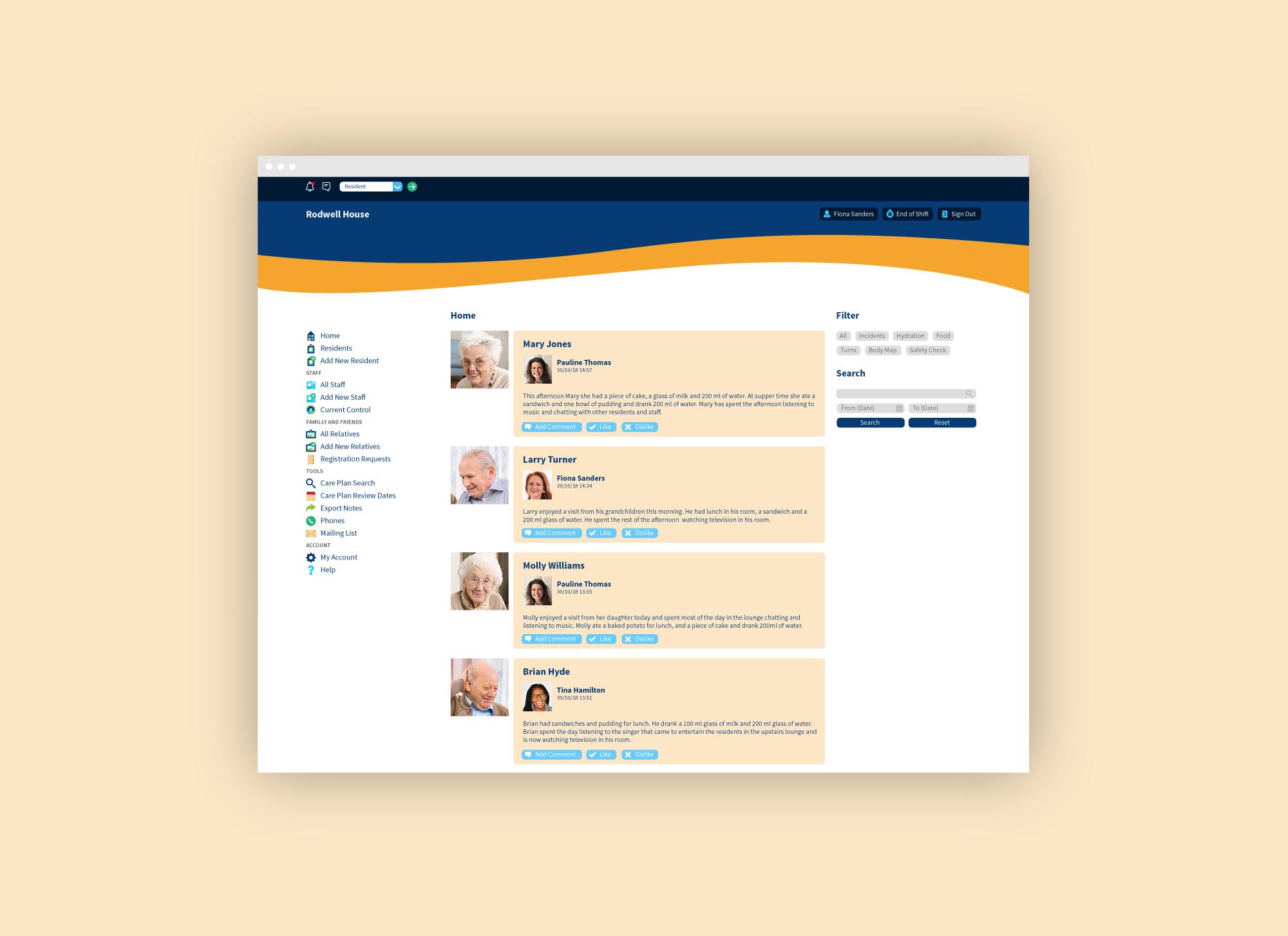 Care home management system web application for Graham Care