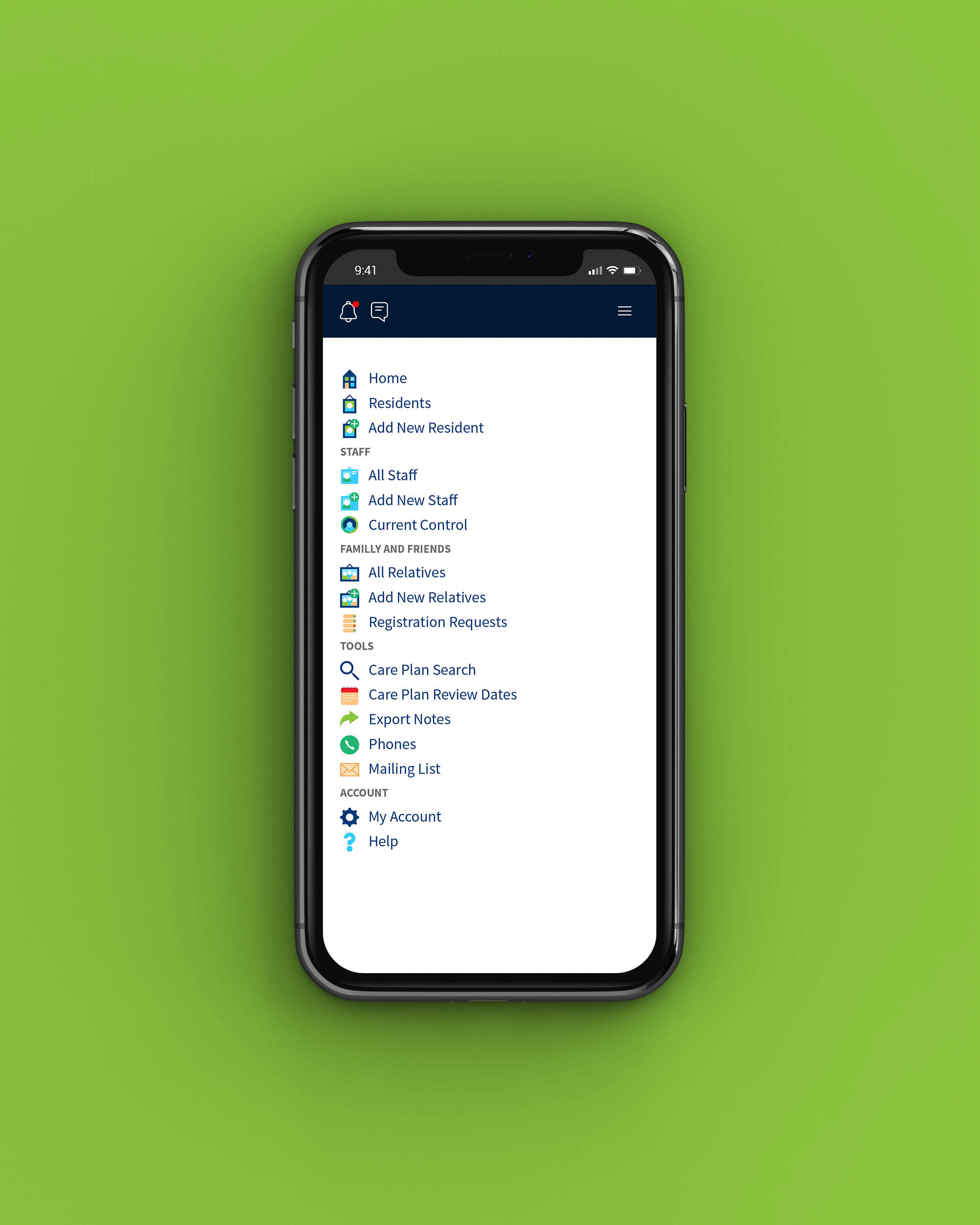 Care home management system mobile web application for Graham Care