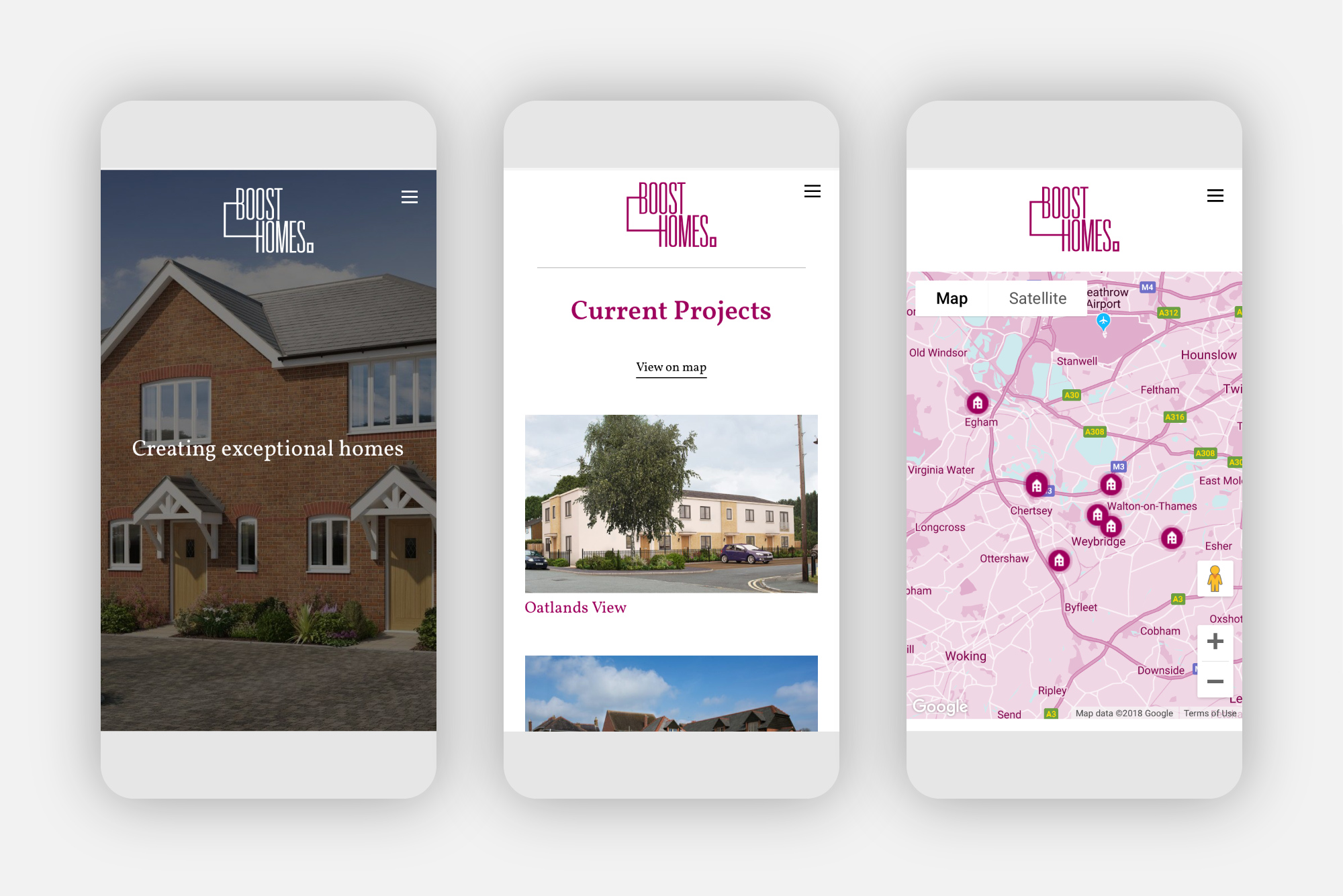 Mobile web design for Boost Homes