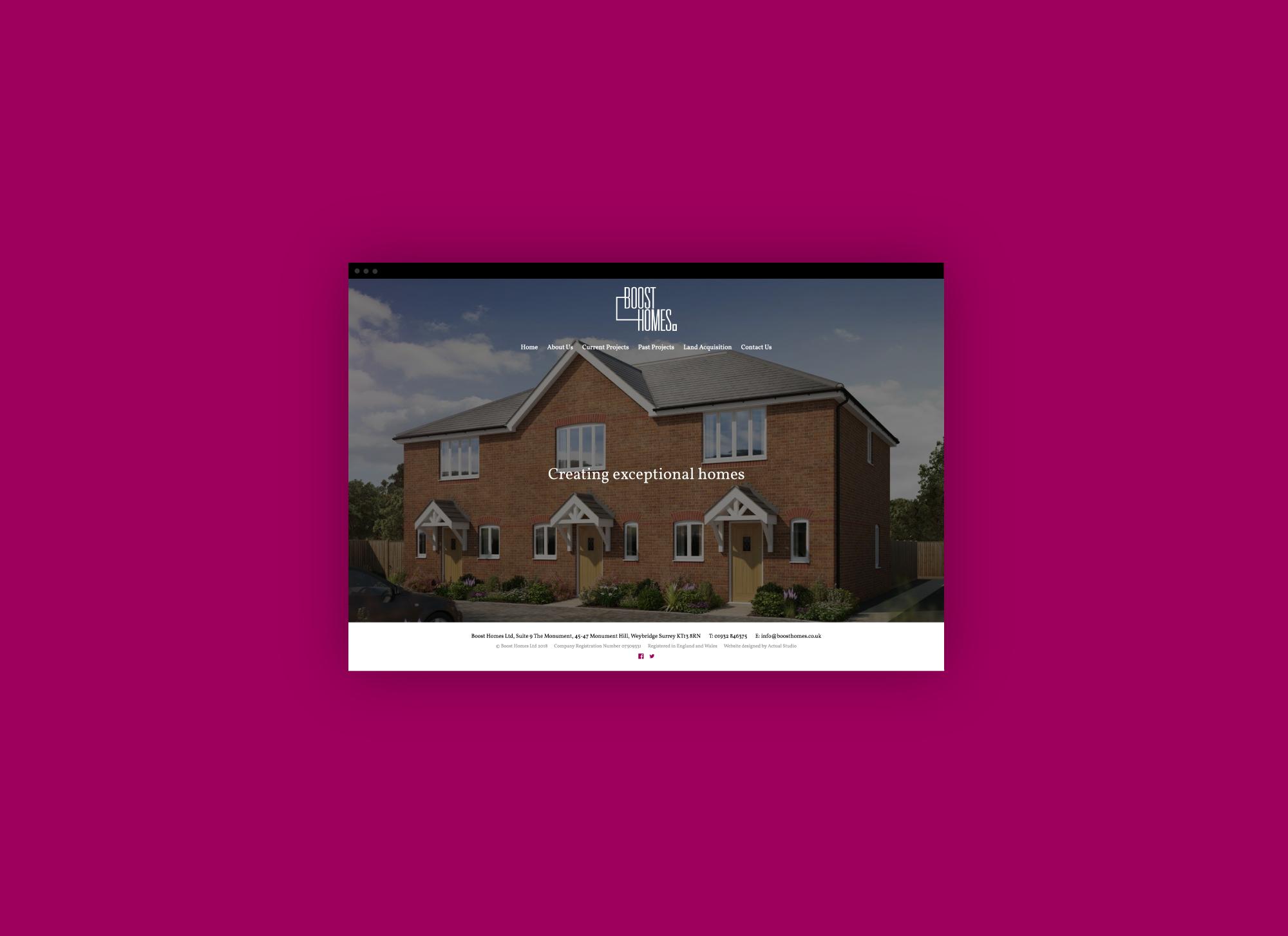 Website design for Boost Homes