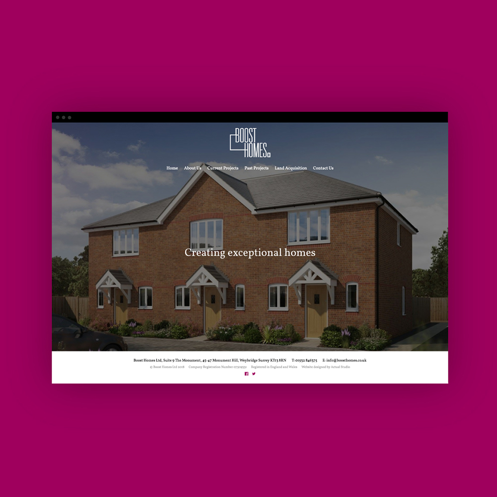 Web design for Boost Homes