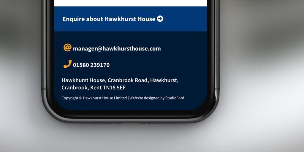 Web design footer detail for care home website