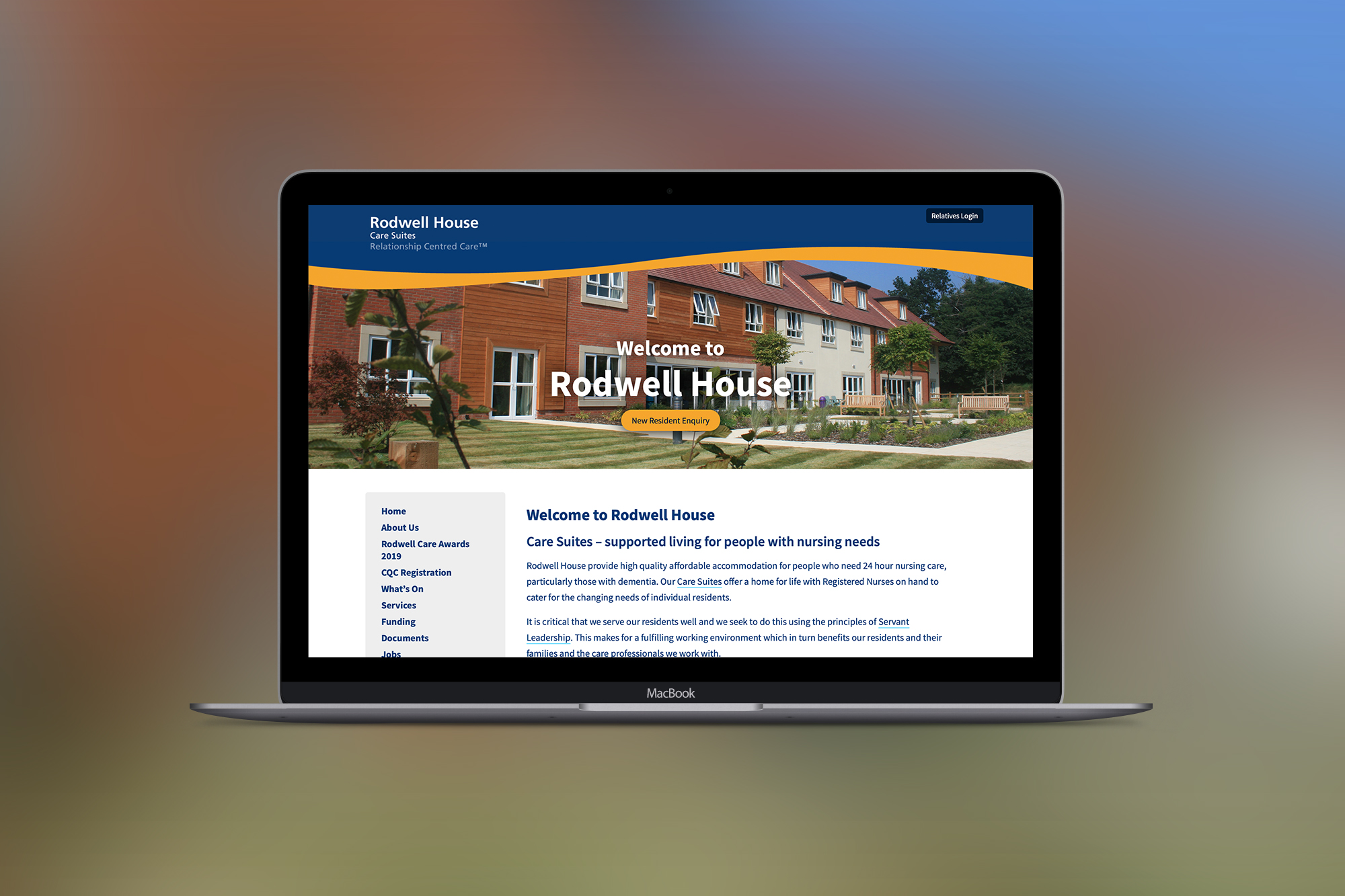 Website development for a care home